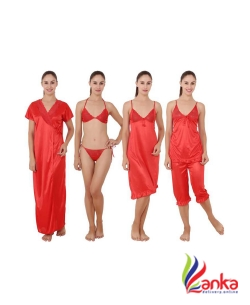 Kanika Women Nighty Set  (Red)