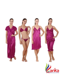 Kanika Women Nighty Set  (Purple)