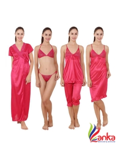 Kanika Women Nighty Set  (Pink)