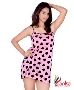 Kanika Women Nighty  (Pink, Black)