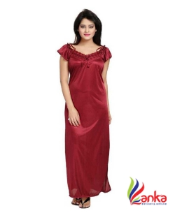 Bluemoon Garments Women Nighty Set  (Maroon)