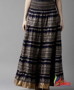 HERE&NOW Women Printed Tiered Dark Blue Skirt