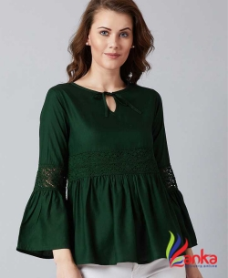 U&F Party Bell Sleeve Solid Women Dark Green Top