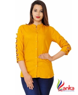 silkova Casual 3/4 Sleeve Solid Women Yellow Top