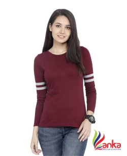 Rodid Solid Women Round Neck Maroon T-Shirt