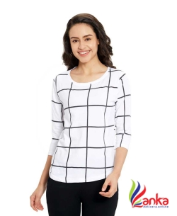 Maniac Checkered Women Round Neck White, Black T-Shirt