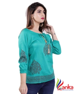 Gujari Casual 3/4 Sleeve Printed Women Green Top