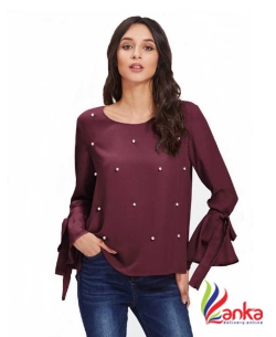 POISON IVY Casual Bell Sleeve Solid Women Maroon Top