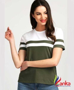 Aelomart Casual Regular Sleeve Color Block Women Light Green, White Top