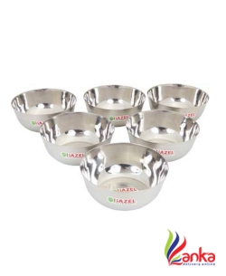 Hazel Steel Mixing Bowls Wati Set of 6, 18 cmX 7.5 cm 1350 ml Stainless Steel Bowl Set  (Silver, Pack of 6)