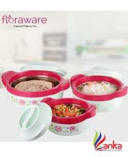 Floraware Steel Casseroles, Junior Gift Set, 3 Pieces,Pista Pack of 3 Thermoware Casserole Set  (1500 ml, 1000 ml, 500 ml)