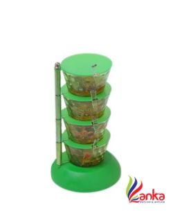batwada Decorative Pickle Jars for Storage with Spoon - Green. - 1000 ml Plastic Pickle Container & Salt Pepper Container  (Green)
